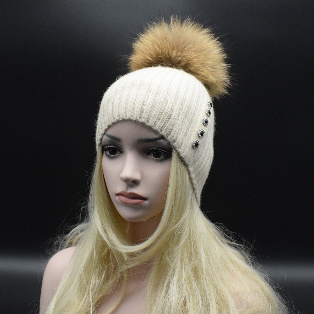 Women Beanies Real Natural Raccoon fur POM POMS Wool Hat Beanie Knitted Skullie Fashion Caps Ladies Knit Cap Winter Hats Одежда и ак�е��уары<br><br><br>Aliexpress