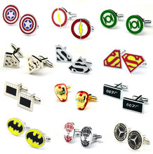 2017 New high quality Vintage Wave Pattern Metal Superhero Cuff Link Superman Spider-Man Iron Man Batman Captain America for men