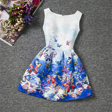 Girl Butterfly Printed Summer Dress 2017 Kids Dresses For Girls Of  6-12 Years Princess Girl Satin Dress Teenagers Girls Clothes
