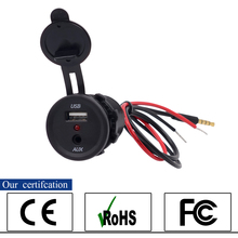 12V USB Port  Motorcycle Car Boat Tractor with Audio Jack Car Charger 3.5MM audio Plug  Car-styling Black Color