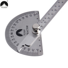 FUJISAN 0-180 Degree Angle Ruler Stainless Steel Round Head Rotary Protractor 145mm Adjustable Angle Finder Measure Tools(China)