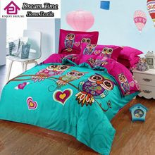 100%cotton kids Owl Hello kitty Cat boy/girl 3/4pcs bedding set bed linen duvet cover/bed sheet/pillowcase king/twin/queen size
