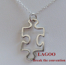 Wholesale large quantity high quality silver plated puzzle piece necklace N0813
