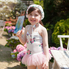 Romantic French floral children swimsuit girl conjoined skirt baby infant bathing suit dress