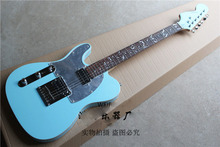 Top quality The tree of life set inlay keyboard Left Hand telecaster Electric guitar in light blue-17-11(China)