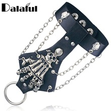 Unisex Cool Punk Rock Gothic Skeleton Skull Hand Glove Chain Link Wristband Bangle Leather Bracelet S244