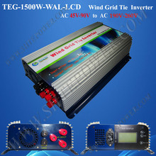 Three Phase Pure Sine Wave Inverter 1500W Wind Grid Tie With Meter-LCD and Dump Load AC 45-90V to AC 190V-260V(China)