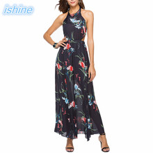 Buy 2018 Sexy Backless Women Maxi Boho Dress Halter Floral Print Summer Dress Holiday Long Beach Dress Vestidos Party Dresses