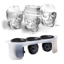 Cool Skull Design Cocktails Silicone Mold Ice Cube Tray Chocolate Fondant Mould diy Bar Party Drink(China)