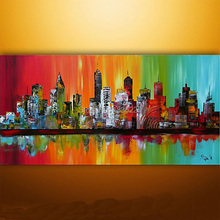 abstract building paintings for wall art 100% handmade knife canvas painting for decoration color New York city paintings