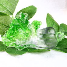 H&D Feng Shui Crystal Liuli Glazed Art Glass Chinese Cabbage Symbol Of Fortune Office Decor Craft(China)