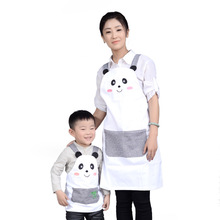 2017 Cartoon White Children painting aprons cute white panda aprons Fashion parent-child Clothing Apron Women Kids Aprons New