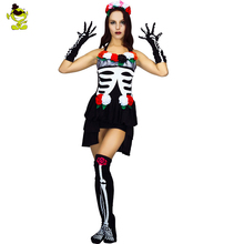 Mexican Day Of The Dead Cosplay Sexy Costumes Halloweeen Skeleton Vampire Sexy Mini Dress Ghost Bride Fancy Dress For Women Show
