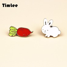 Timlee X086  Free shipping Cute White Rabbit Carrot Alloy Brooch Pins,Fashion Jewelry Wholesale Nice Gift