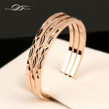 Concise Three Rounds Finger Rings Rose Gold Color Fashion Brand Ring Jewellery/Jewelry For Women Wholesale DFR164 Anel(China)
