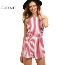 COLROVIE Sleeveless Summer Style Beach Rompers Women Jumpsuit Ladies Sexy Vertical Stripe Backless Cutaway Rompers