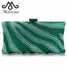 Milisente Brand Women Evening Bags Ladies Crystal Wedding Bag River Royal Blue Pattern Party Purses(China)