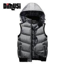 Winter Vest Men Brand Male Hooded Thick Warm Men's Vests Fashion Solid Male Vests Multicolor Sleeveless Jacket 4XL 5XLYA494(China)