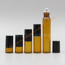 1ml/2ml/3ml/5ml/10ml brown Glass Bottle(long neck) With stainless roller+black plastic lid,roll-on/perfume/deodorant bottle