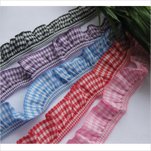 PURPLE 15mm NEW.!!...Double Frill Edge Stretch Gingham Trim