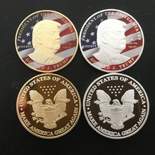 Buy 20 pcs Donald Trump president USA 24K real gold silver plated 40 mm souvenir coin badge for $37.72 in AliExpress store