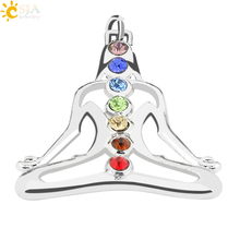 CSJA Seven Rainbow Rhinestone Pave 7 Chakra Energy Jewelry Pendant Reiki Health Amulet for Girl Boy Womans Mens Charm Gifts E014(China)