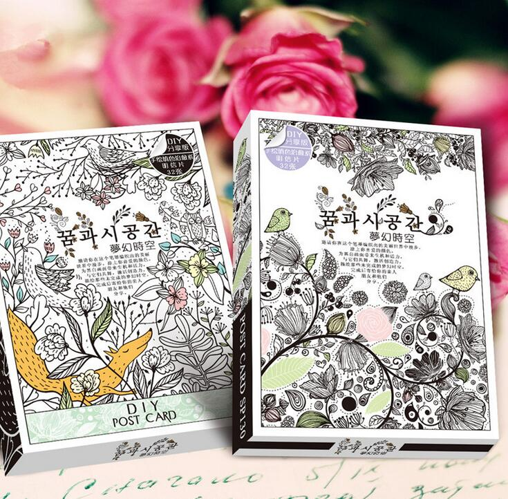 32 Sheets Cute Coloring Postcard Tintage Postcards DIY Release Stress Painting Drawing Book Secret Garden Colouring