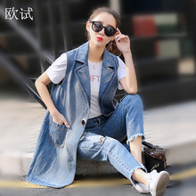 Plus Size 3XL Sleeveless Denim Vest Women Jacket Coat Packet Desinger 2017 Summer/Spring jeans Jacket Coat Vest Women's Clothing(China)