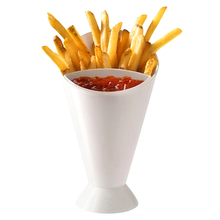Useful Kitchen Potato Tools Tableware French Fry Cone with Dipping Cup For Home and Restaurant(China)