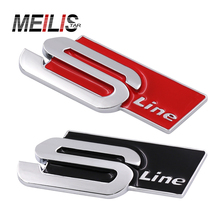 Car-Styling 3D Metal S Line Sline Car Sticker Emblem Badge Case For Audi A1 A3 A4 B6 B8 B5 B7 A5 A6 C5 Accessories Car Styling