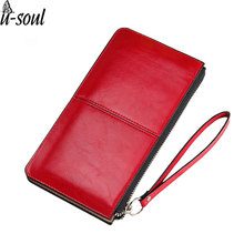 Fashion Wallet Oil Wax Leather Zipper Clutch Wallet Female Burglar Robbed Purse Lady Multi-Function Phone Bag Purse A554(China)