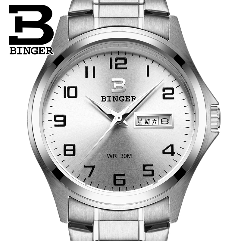 2017 Switzerland luxury mens watch BINGER brand quartz full stainless clock Waterproof Complete Calendar Guarantee B3052B2<br>