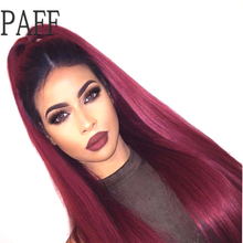 36C Silky Straight Lace Front Wig Peruvian Remy Hair 1B T 99j Ombre Color Free Part Human Hair Wig With Baby Hair and Hairline(China)