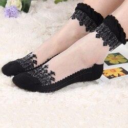 2 пары женских кружевных гофрированных носков мягкие удобные прозрачные шелковые хлопковые эластичные сетчатые трикотажные прозрачные же...