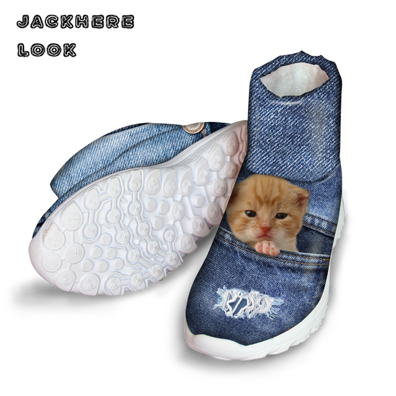 JACKHERELOOK Ankle Denim Cat Print Women Boots Round Toe Shoes Female Lady Butterfly pattern Winter Snow Rain Waterproof Boot <br>