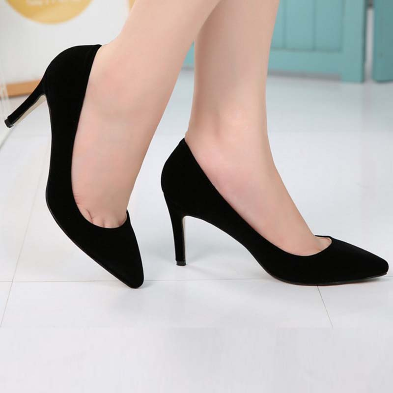 Pointed Toe Stiletto High Heels Shoes Sexy Women Pumps Classic Style Flock Leather Shallow Mouth Zapatos Mujer Big Size 43 44<br>