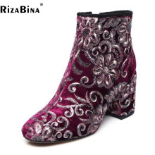 Buy RizaBina Size 34-43 Vintage Women Real Leather High Heel Boots Women Zipper Flower Thick Heel Boots Beading Shoes Women Footwear for $52.98 in AliExpress store