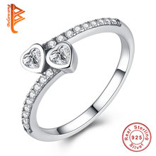 BELAWANG Luxury 100% 925 Sterling Silver Forever Hearts, Clear CZ Open Finger Rings for Women Wedding Engagement Jewelry Gift(China)