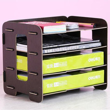 Paperboat A4 Multi Layer Wooden Kawaii File Rack High-quality School Magazine Holder Office Bookshelf Creative Document Tray(China)
