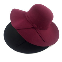 2017 red black women female lady  fashion wool cotton wide brim felt floppy fedora church hats with bowknot for black women