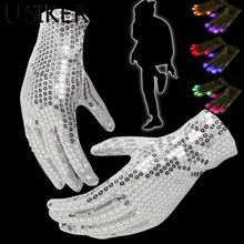 Christmas Halloween Decorations LED Flashing Gloves Colorful Finger Light Glove Party Supplies R20