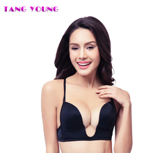 TANG YOUNG sexy women deep v neck bra push up brassiere sexy evening dress wedding adjustable cleavage solid u plunge shaped bra