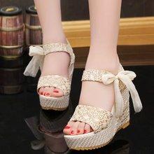 2015 new summer women sandals wedges sweet lace thick waterproof shoes wholesale manufacturers black women shoes pumps high heel