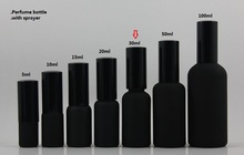 50pcs wholesale 30ml black frosted refillable perfume bottle with black atomiser, fine mist black pump bottle, perfume bottle(China)