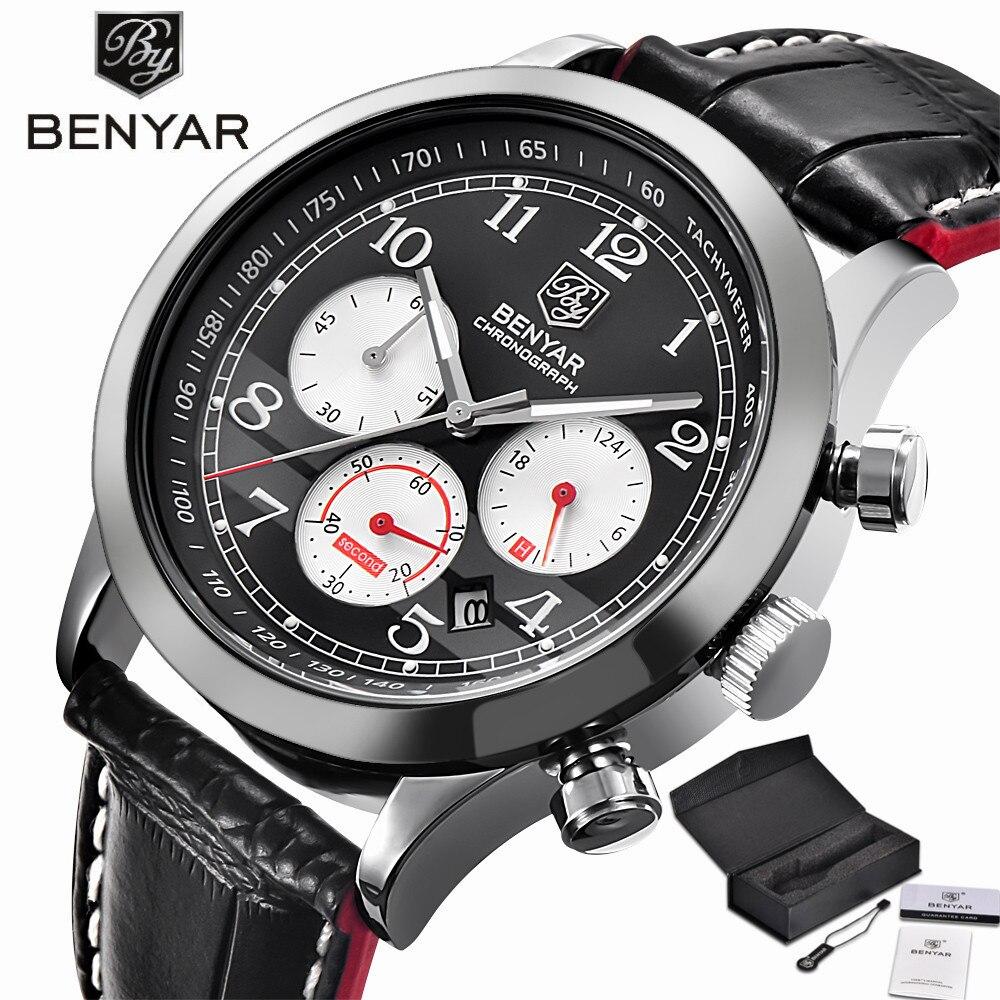 BENYAR Aviator Chronograph Mens Watch Military Sport Wristwatches Top Brand Mens Luxury Quartz Genuine Leather Band 24H Dispaly<br>