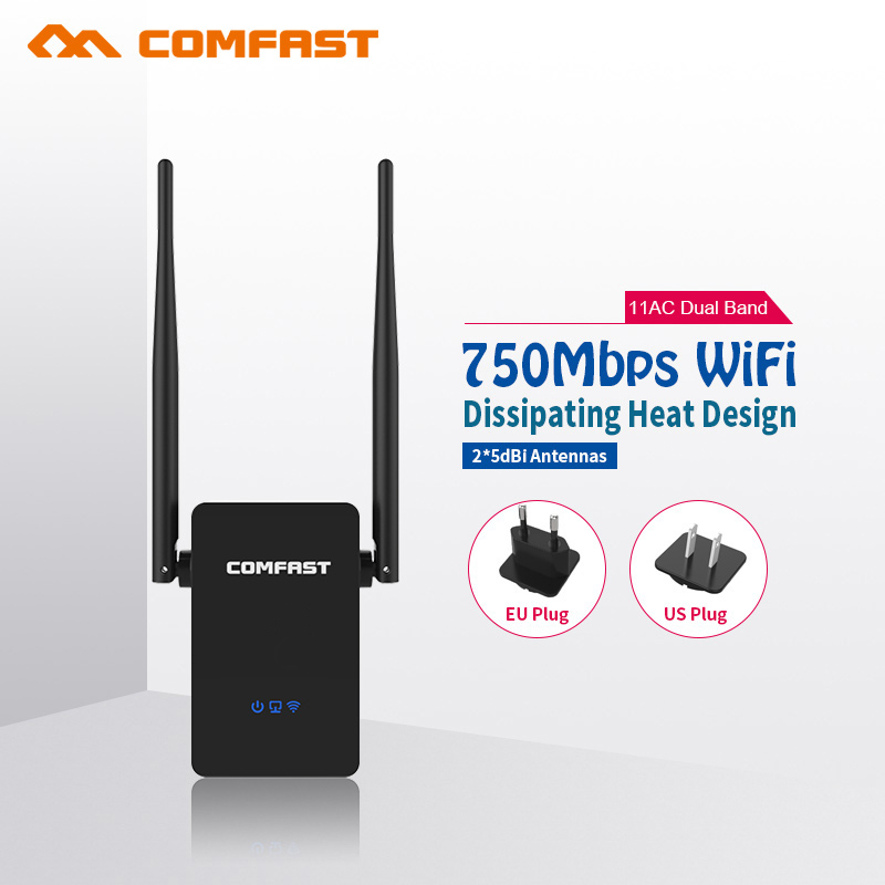 COMFAST 750Mbps WIFI Repeater signal amplifier 2.4G/5.8G Wireless Wi fi router repeater Extender Dual Band Roteador CF-WR750AC(China)