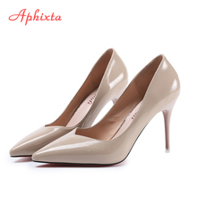Aphixta 2017 Women Pump Dress Shoes Autumn Winter Pointed Toe Strap Chaussure Patent Leather Super Goblet High Thin Heel Pumps(China)