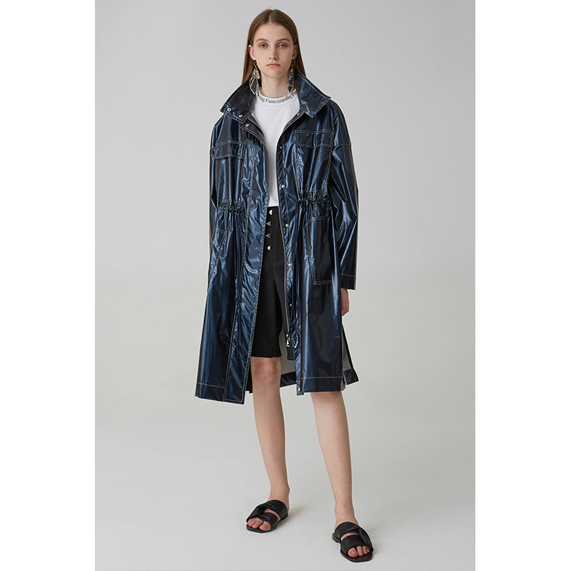 New Arrival 2018 Waterproof Shiny Casual Hooded Oversize Long Trench Coat Women