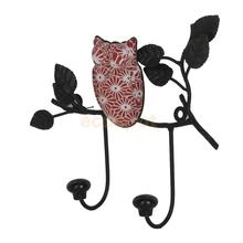 Vintage Black Metal Owl Wall Mount 2 Hook Rack Towel Clothes Coat Hanger Decor