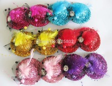 3 pairs Cute Little Hats Hair Clips glitterBarrettes with Bows/Rhinestone 70mm Boutique Clips